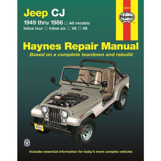 JEEP CJ HAYNES REPAIR MANUAL COVERING ALL JEEP CJ MODELS, SCRAMBLER, RENEGADE. LAREDO AND GOLDEN EAGLE (1949 THRU 1986), , scaau_hi-res