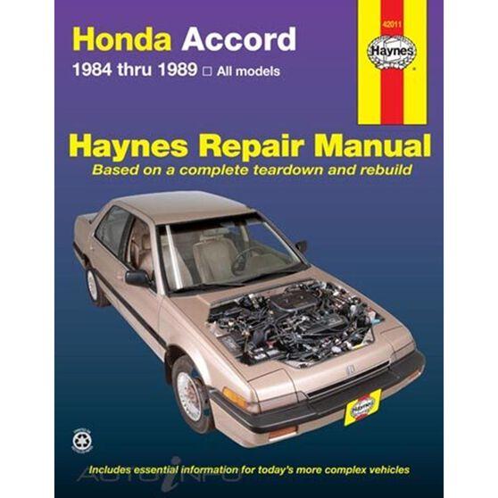 HONDA ACCORD HAYNES REPAIR MANUAL COVERING ALL HONDA ACCORD 1.8L AND 2.0L MODELS FROM 1984 THRU 1989, , scaau_hi-res