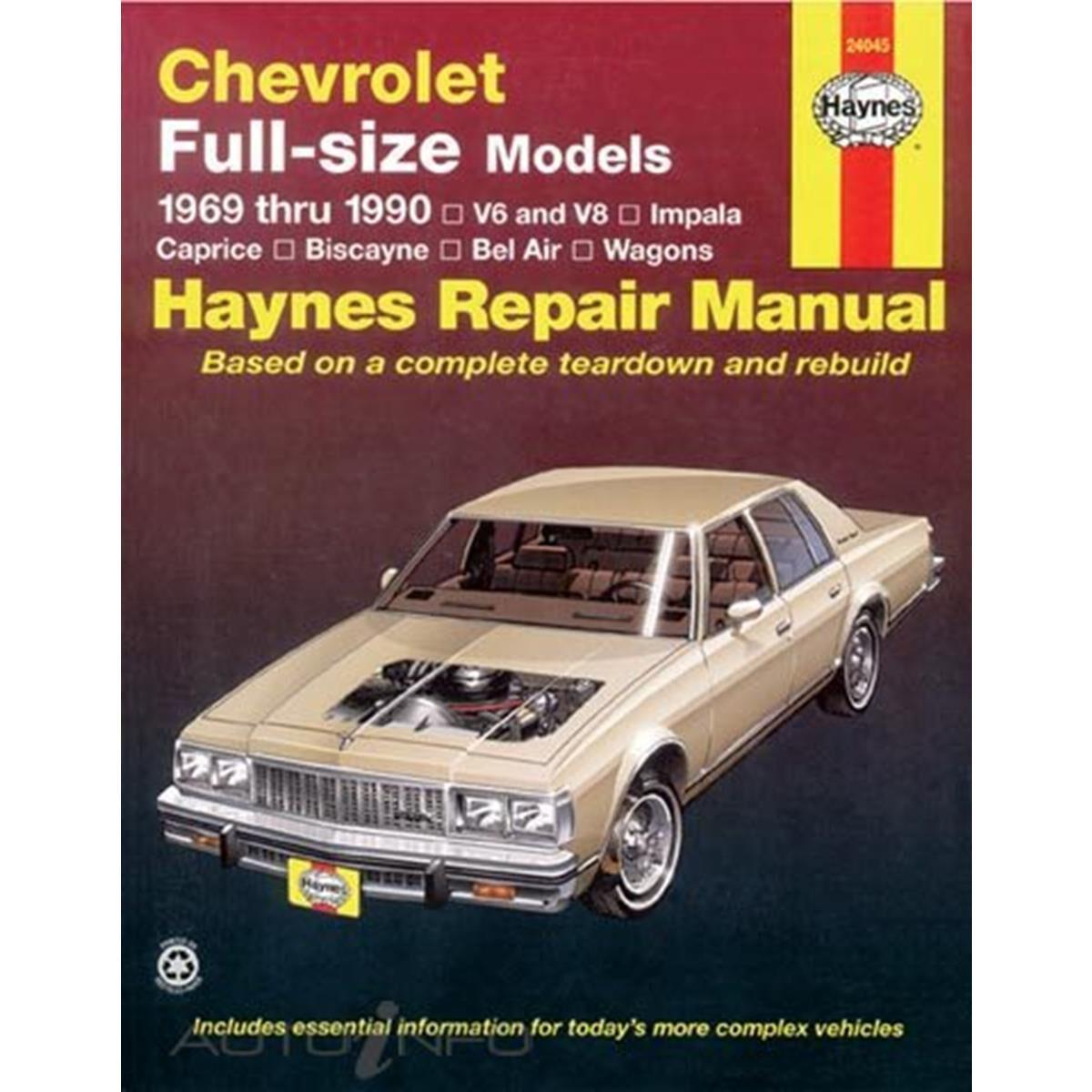 Bel Air Chevrolet Caprice Wagons Repair Manual 1969-1990 Impala Biscayne