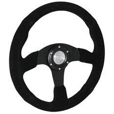 """Steering Wheel Suede 14"""" Black Spoke, , scaau_hi-res"""