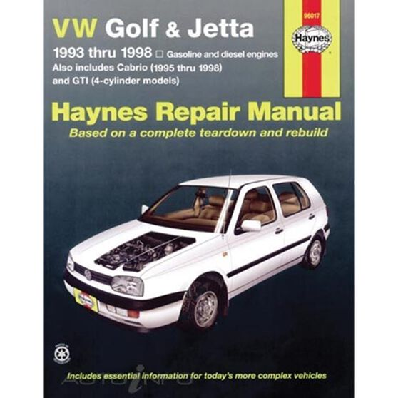VW GOLF, GTI & JETTA HAYNES REPAIR MANUAL FOR 1993 THRU 1998, AND VW CABRIO 1995 THRU 2002, WITH 1.8L AND 2.0L GASOLINE ENGINES, AND 1.9L DIESEL ENGINE. DOES NOT INCLUDE INFORMATION SPECIFIC TO MODELS WITH THE 2.8L VR6 ENGINE., , scaau_hi-res