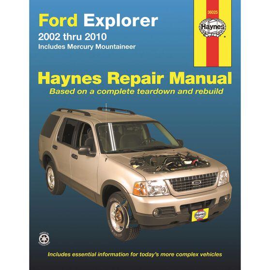 FORD EXPLORER AND MERCURY MOUNTAINEER HAYNES REPAIR MANUAL FOR 2002 THRU 2010 (EXCLUDING SPORT TRAC), , scaau_hi-res