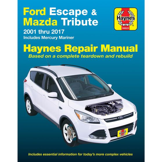 FORD ESCAPE AND MAZDA TRIBUTE HAYNES REPAIR MANUAL FOR 2001 THRU 2012. INCLUDES MERCURY MARINER 2005 THRU 2011 (DOES NOT INCLUDE INFORMATION SPECIFIC TO HYBRID MODELS), , scaau_hi-res