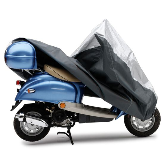 Ready Fit Scooter Cover - Suits Piaggo 3 Wheeler With Windscreen And Small  Backrest - Black/Silver