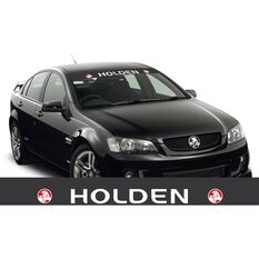 HOLDEN ITAG SUN VISOR (WHITE HOLDEN ON BLACK WITH RED RONDELS)