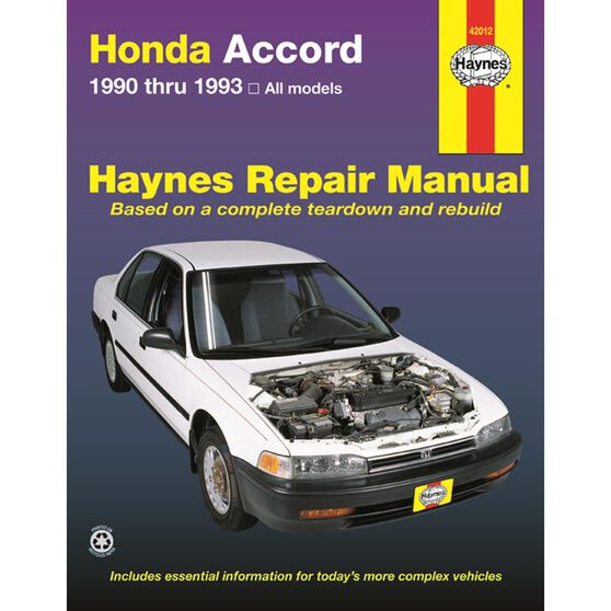 HONDA ACCORD HAYNES REPAIR MANUAL COVERING ALL MODELS FROM 1990 THRU 1993, , scaau_hi-res