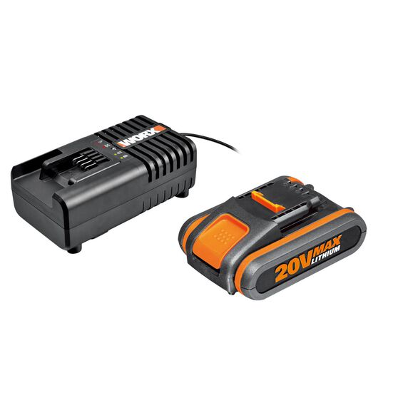 WORX POWERSHARE 20V 2.0AH MAX LITHIUM-ION BATTERY & CHARGER KIT, , scaau_hi-res
