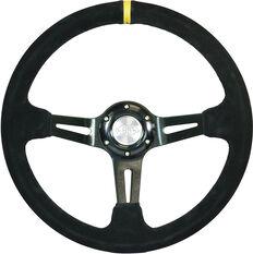 """Steering Wheel Suede 14"""" D.Dish Black Slotted + Indicator, , scaau_hi-res"""