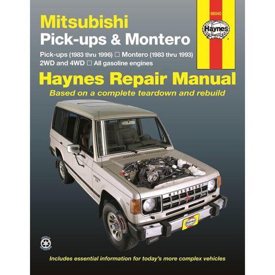 MITSUBISHI PICK-UPS & MONTERO HAYNES REPAIR MANUAL FOR 1983 THRU 1996 COVERING 2WD & 4WD MODELS WITH GASOLINE ENGINES PICK-UPS (1983 THRU 1996) MONTERO (1983 THRU 1993), , scaau_hi-res