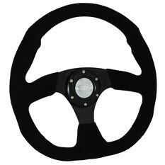 """Steering Wheel Suede 14"""" Black Flat Bottom, , scaau_hi-res"""