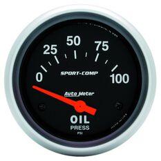"SPORT-COMP 2-5/8"" OIL PRESS 0-100PSI, SHORT SWEEP ELECTRIC"