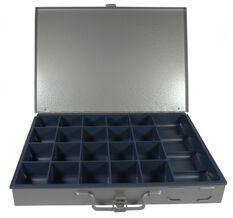 21 COMPARTMENT GREY METAL BOX