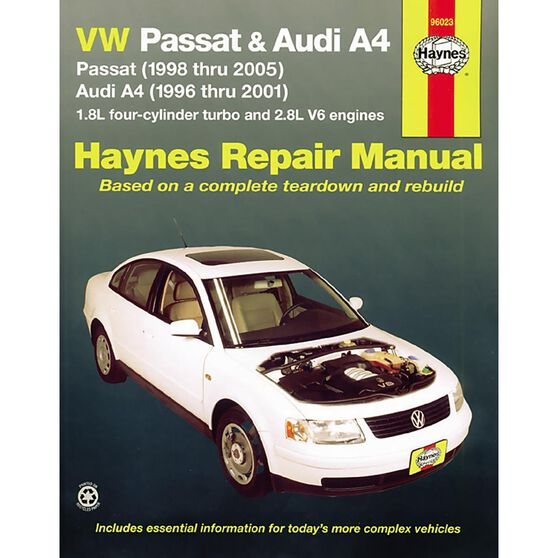 VW PASSAT 1998 THRU 2005 AND AUDI A4 1996 THRU 2001 HAYNES REPAIR MANUAL FOR MODELS WITH 1.8L FOUR-CYLINDER TURBO AND 2.8L V6 ENGINES. DOES NOT INCLUDE DIESEL ENGINE, W8 ENGINE OR S4 MODEL INFORMATION., , scaau_hi-res