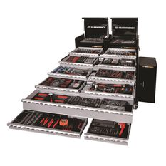 Tool Set 621Pc - 2 x 4 Drawer Chest + 10 Drawer Roller Cabinet + 2 x Side Cabinets Kit, , scaau_hi-res