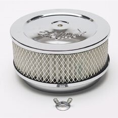 CHROME AIR CLEANER 6 X 2 5-1/8 NECK,WITH LOGO