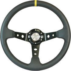 "Steering Wheel Leather 14"" D.Dish Black Holes + Indicator, , scaau_hi-res"