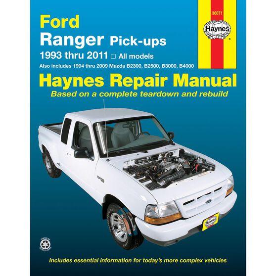 FORD RANGER AND MAZDA PICK-UPS HAYNES REPAIR MANUAL COVERING ALL FORD RANGER MODELS FOR 1993 THRU 2011 AND MAZDA B2300/B2500/B3000/B4000 FOR 1994 THRU 2009, , scaau_hi-res