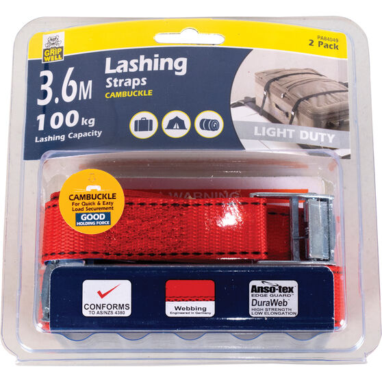 Gripwell Luggage Strap - 3.6m, 100kg, 2 Pack, , scaau_hi-res