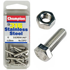 Champion Screws and Nuts - 4mm X 20mm, , scaau_hi-res