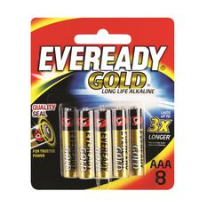 Gold Battery - Long Life Alkaline, AAA, 8 Pack, , scaau_hi-res