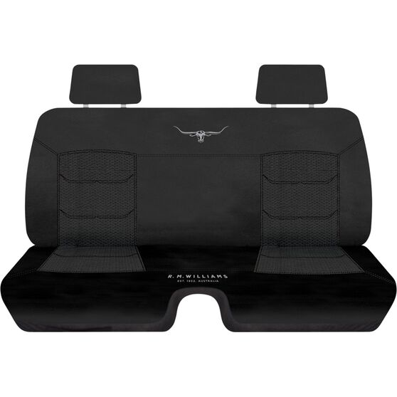 R.M.Williams Woven Ute Seat Cover - Black Size 202 Front Bench (with cut out), , scaau_hi-res