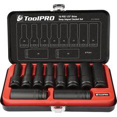 ToolPRO Impact Deep Socket Set - 1 / 2inch Drive, Metric, 10 Piece, , scaau_hi-res