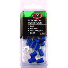 Electrical Terminals - Spade, Blue, 4.3mm, 20 Pack, , scaau_hi-res