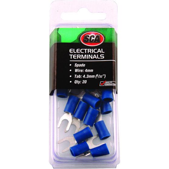 SCA Electrical Terminals - Spade, Blue, 4.3mm, 20 Pack, , scaau_hi-res