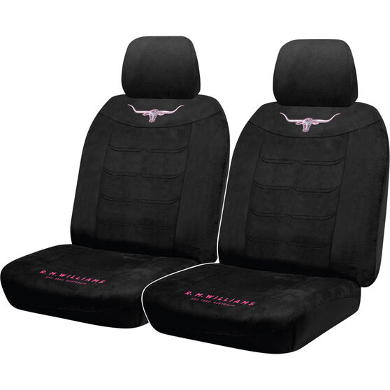 R.M.Williams Jillaroo Suede Velour Seat Covers - Black, Adjustable Headrests, Size 30, Front Pair, Airbag Compatible, , scaau_hi-res