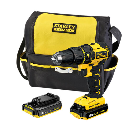 Stanley FatMax Brushless Hammer Drill Kit - 18V, 2.0AH, , scaau_hi-res