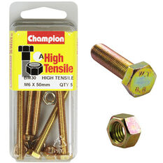 Champion High Tensile Bolts and Nuts - M6 X 50, , scaau_hi-res