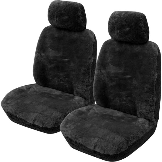 Gold Cloud Sheepskin Seat Covers - Black, Adjustable Headrests, Size 30, Front Pair, Airbag Compatible Black, Black, scaau_hi-res