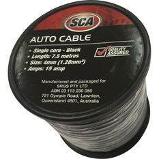SCA Auto Cable - 7.5m, 4mm, Low Tension, Black, , scaau_hi-res