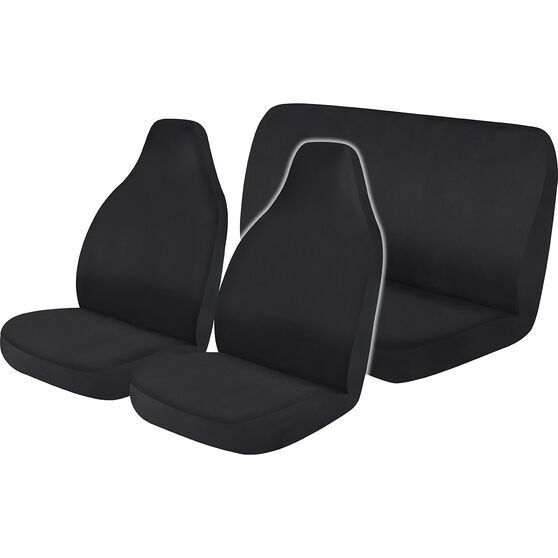 Best Buy Seat Cover Pack - Black, Built-in Headrests, Airbag Compatible, , scaau_hi-res