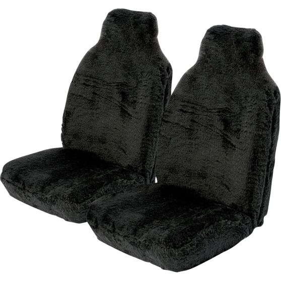 SCA Comfort Fur Seat Covers - Black, Built-in Headrests, Size 60, Front Pair, Airbag Compatible, , scaau_hi-res