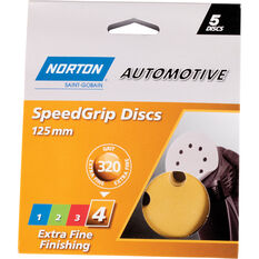 Norton Speed Grip Disc 320 Grit 125mm 5 Pack, , scaau_hi-res