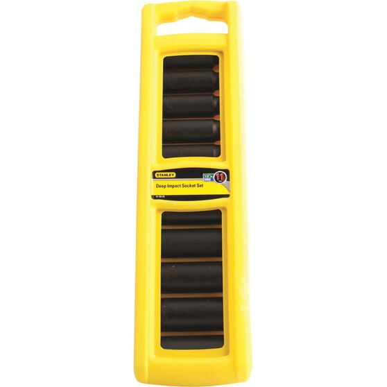 Stanley Impact Deep Socket Set - 1 / 2inch Drive, Metric, 11 Piece, , scaau_hi-res