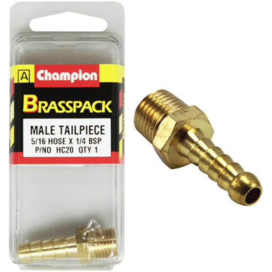 Champion Male Hose Barb - 5 / 16inch X 1 / 4inch, Brass, , scaau_hi-res