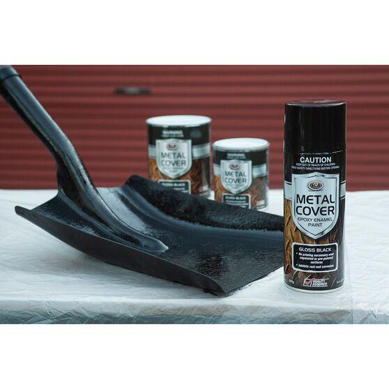 SCA Metal Cover Enamel Rust Paint Gloss Black 300g, , scaau_hi-res