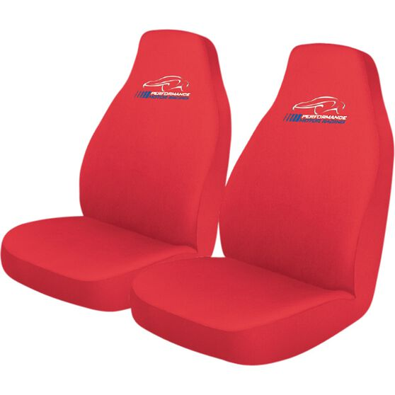 Performance Racing Slip On Seat Covers - Red, Built-in Headrests, Size 60, Slip On, Front Pair, , scaau_hi-res