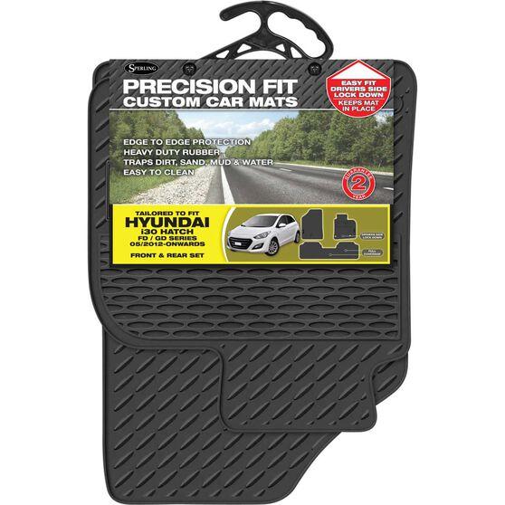 Precision Fit Custom Rubber Floor Mats - Suits Hyundai i30 Hatch 2012+, Black, Set of 3, , scaau_hi-res