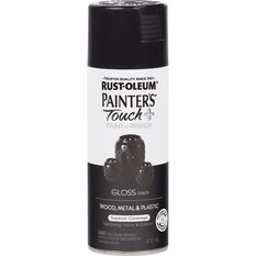 Rustoleum Aerosol Paint - Painters Touch Plus, Gloss Black, , scaau_hi-res