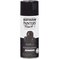 Rustoleum Aerosol Paint - Painters Touch Plus, Gloss Black, , scaau_hi-res
