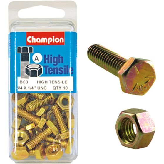 Champion High Tensile Bolts and Nuts - UNC 3 / 4inch X 1 / 4inch, , scaau_hi-res