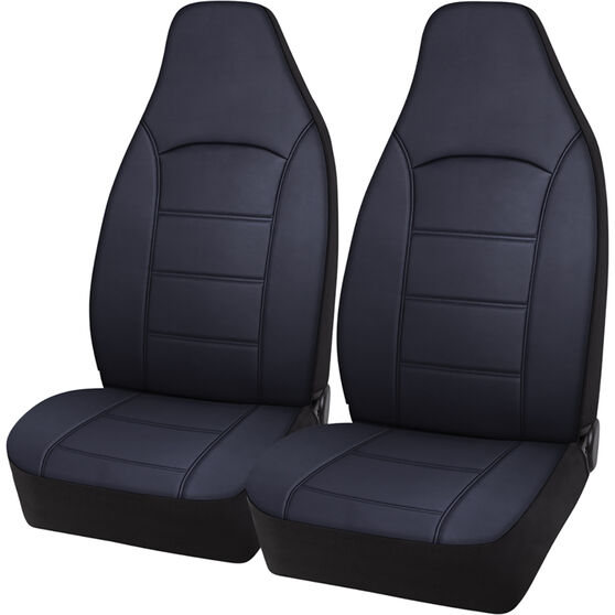 SCA Leather Look Seat Covers - Black, Build-In Headrests, Size 60, Front Pair, Airbag Compatible, , scaau_hi-res