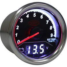 Trax Gauge - Black Face, 52mm, Dual Exhaust Temperature/Volt Analogue/Digital, , scaau_hi-res