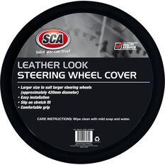 Steering Wheel Cover - Leather Look, Black, 430mm diameter, , scaau_hi-res