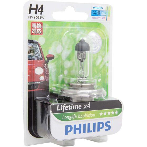 Philips LongLife EcoVision Headlight Globe - 12V, H4, 60/55W, , scaau_hi-res