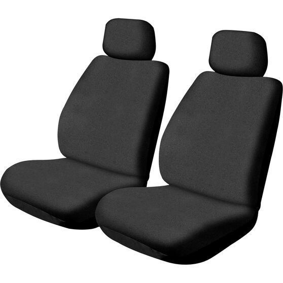 SCA Canvas Seat Covers - Black, Adjustable Headrests, Size 30, Front Pair, Airbag Compatible, , scaau_hi-res