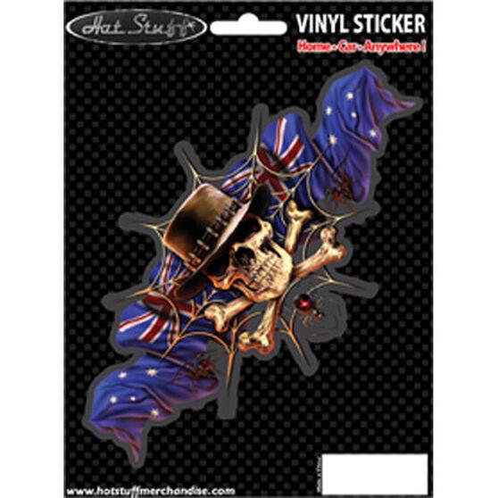 Hot Stuff Sticker - Aussie Hat Skull, Vinyl, , scaau_hi-res